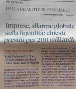 Allarme globale liquidità imprese